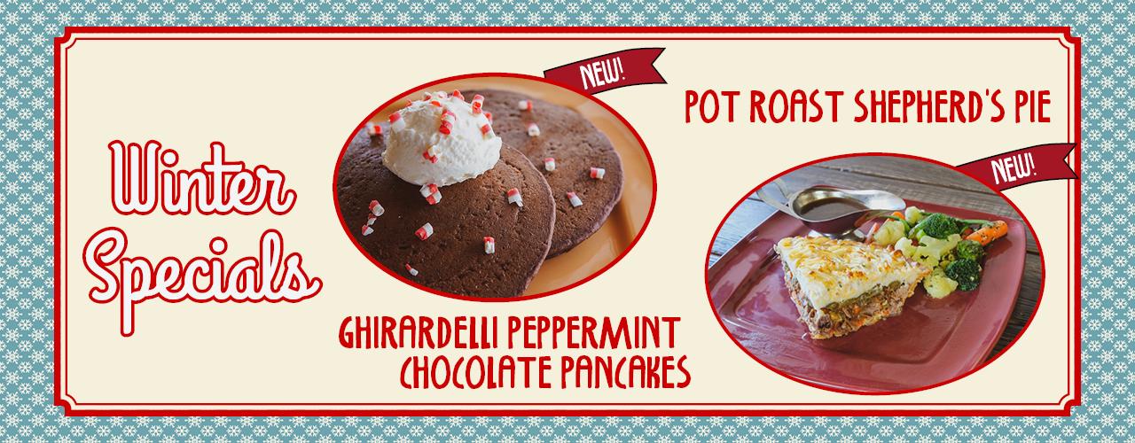 Winter Specials - Pot Roast Shepherd's Pie & Ghiradelli Peppermint Chocolate Pancakes