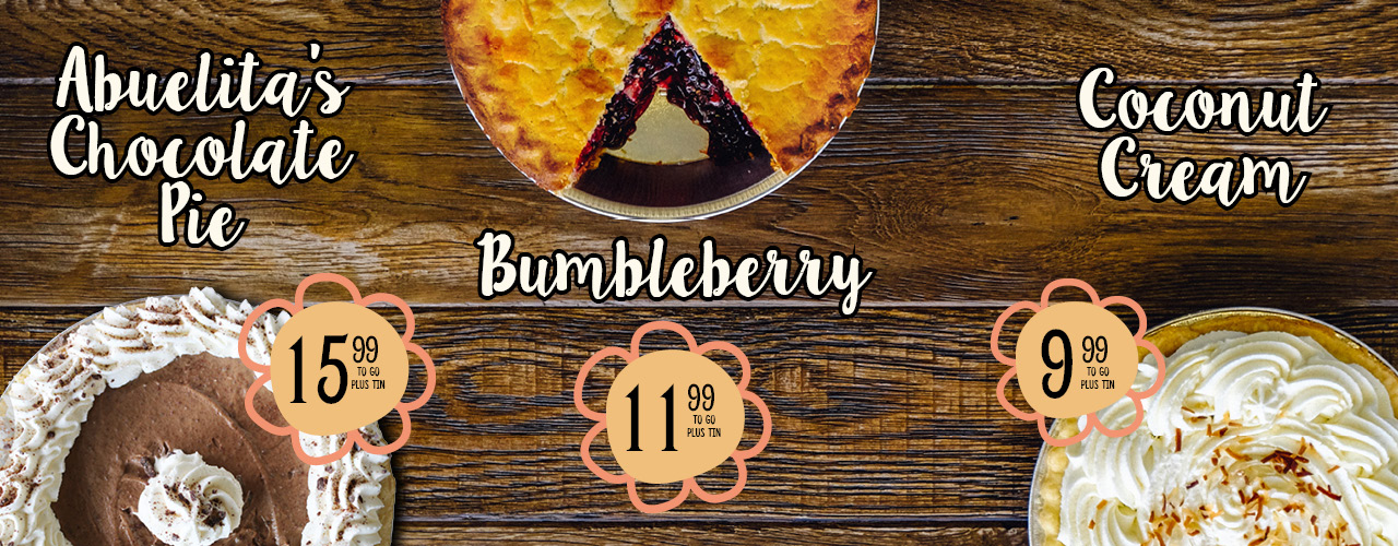 Abuelita's Chocolate Pie, Bumbleberry, and Coconut Cream