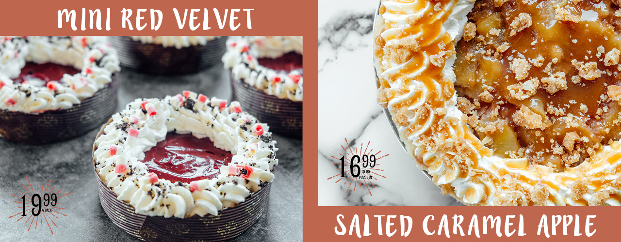 Mini Red Velvet and Salted Caramel Apple Pies
