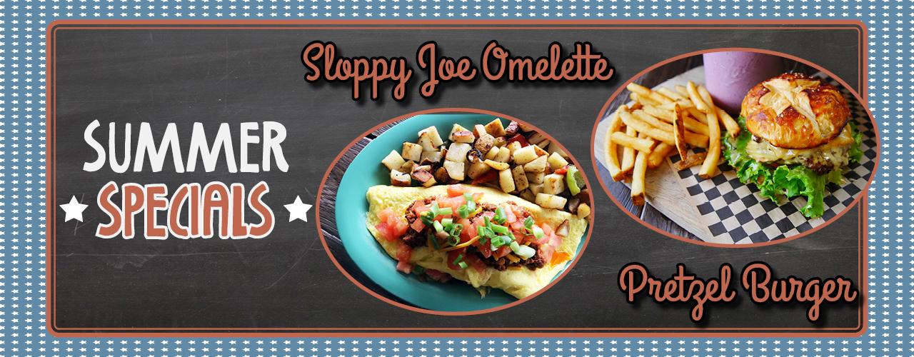 Summer Specials - Sloppy Joe Omelette & Pretzel Burger